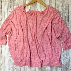 LANE BRYANT Pink Butterfly Arm Top